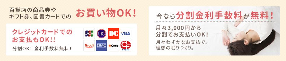 百貨店の商品券や ギフト券、図書カードでのお買い物OK!今なら分割金利手数料が無料!